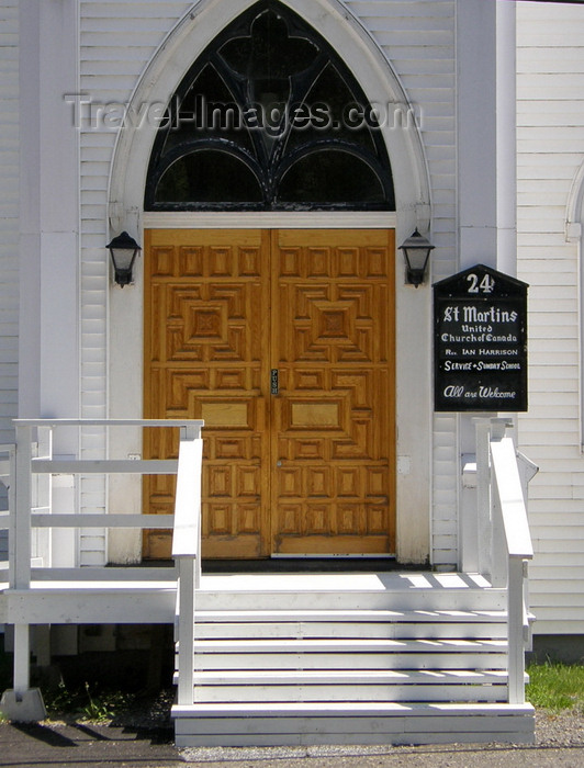 canada367: St. Martins, New Brunswick, Canada: entrance of the United Church of Canada - photo by G.Frysinger - (c) Travel-Images.com - Stock Photography agency - Image Bank