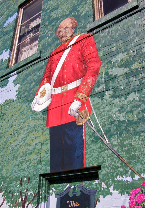 canada370: Sussex, New Brunswick, Canada: officer of the British Army - Red Coat - mural on Church avenue - photo by G.Frysinger - (c) Travel-Images.com - Stock Photography agency - Image Bank