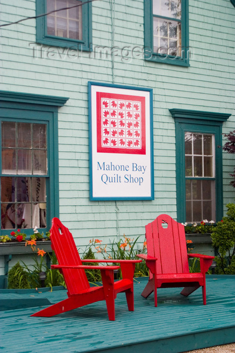 canada453: View of the front porch with red chairs of the historic Mahone Bay quilt shop in Mahone Bay, Nova Scotia, Canada - photo by D.Smith - (c) Travel-Images.com - Stock Photography agency - Image Bank
