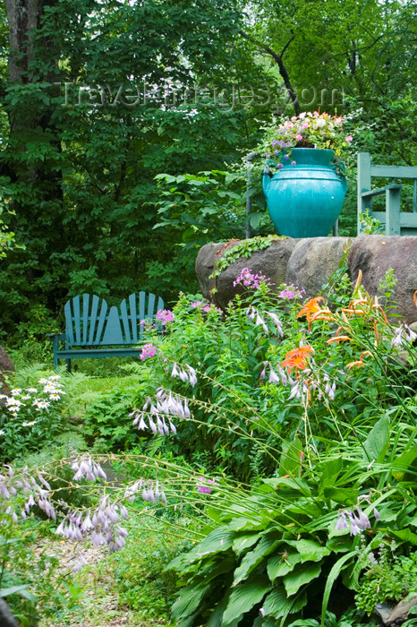 canada456: Scenic views of the garden at the Mahone Bay Quilt shop in historic Mahone Bay, Nova Scotia, Canada - photo by D.Smith - (c) Travel-Images.com - Stock Photography agency - Image Bank