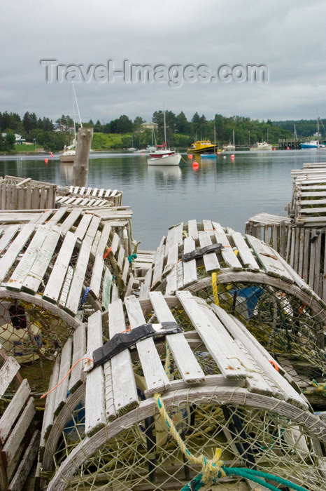 canada457: Scenic view of the old lobster traps in the harbour at Chester, Nova Scotia, Canada - photo by D.Smith - (c) Travel-Images.com - Stock Photography agency - Image Bank