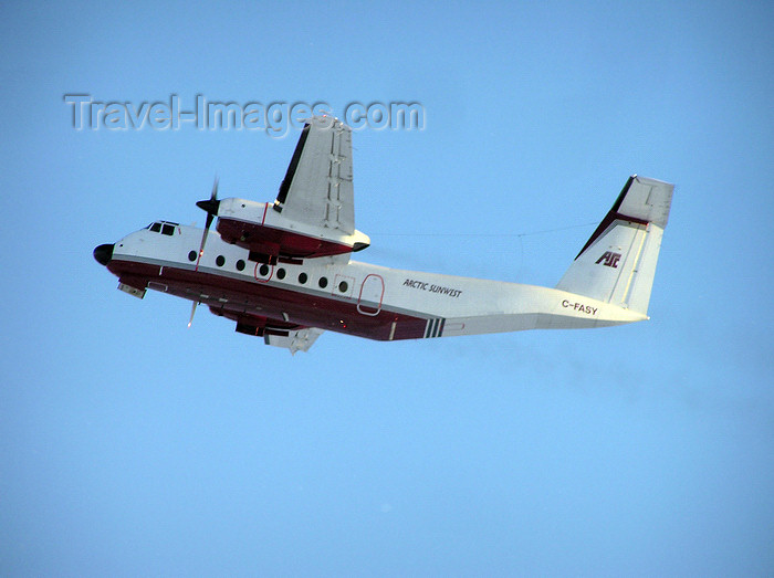 canada524: Northwest Territories, Canada: twin engined plane taking off - De Havilland Canada DHC-5 Buffalo - C-FASY - Arctic Sunwest - photo by Air West Coast - (c) Travel-Images.com - Stock Photography agency - Image Bank