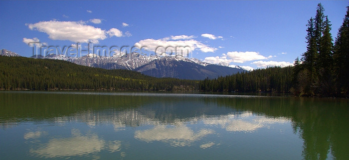 canada546: Jasper, Alberta, Canada: Pyramid Lake - skyline reflection - photo by J.Cave - (c) Travel-Images.com - Stock Photography agency - Image Bank