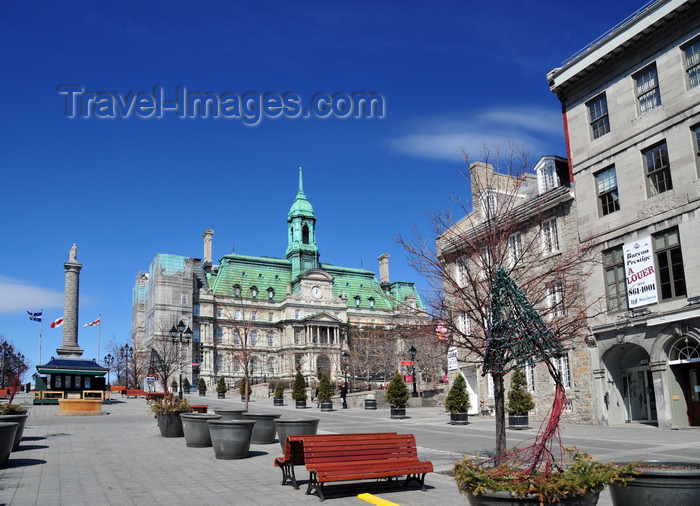 canada578: Montreal, Quebec, Canada: Place Jacques-Cartier, City Hall and Nelson Column seen from near Rue St-Paul - Vieux-Montréal - photo by M.Torres - (c) Travel-Images.com - Stock Photography agency - Image Bank