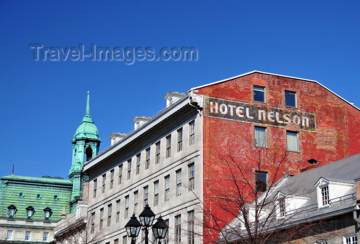 canada579: Montreal, Quebec, Canada: Hotel Nelson / Auberge de l'Amical and the tower of the City Hall - Place Jacques-Cartier - Vieux-Montréal - photo by M.Torres - (c) Travel-Images.com - Stock Photography agency - Image Bank