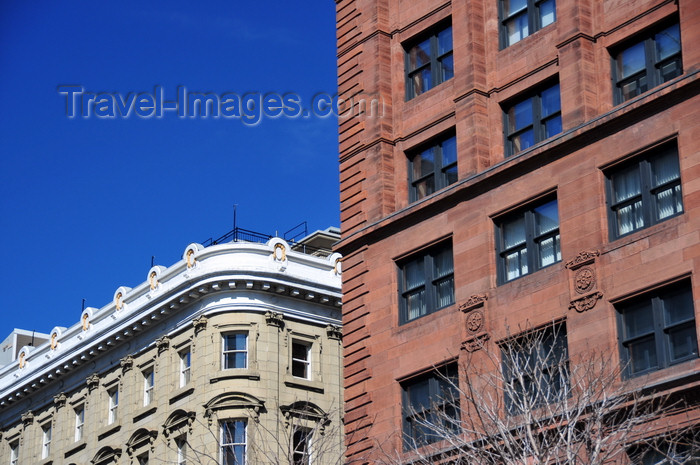 canada593: Montreal, Quebec, Canada: windows of the Great Scottish Life Insurance Building / Hotel Place d'Armes and the New York Life building - Place d'Armes - Vieux-Montréal - photo by M.Torres - (c) Travel-Images.com - Stock Photography agency - Image Bank