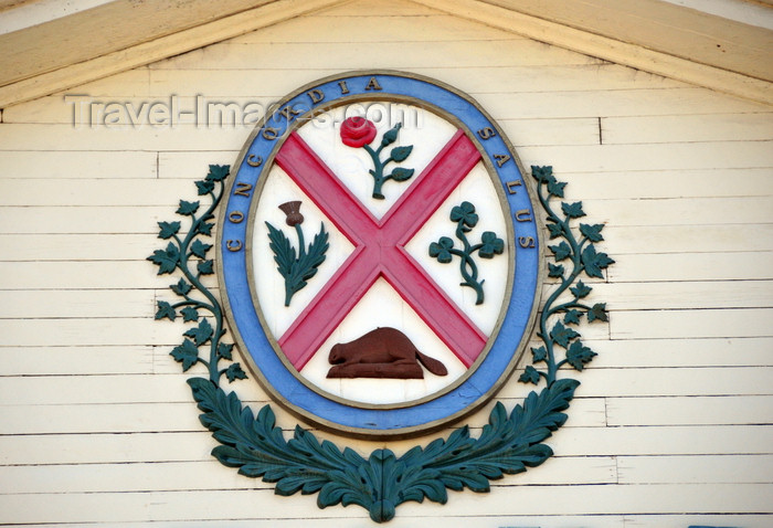 canada602: Montreal, Quebec, Canada: Marché Bonsecours - coat of arms of Montreal - Concordia Salus, 'well-being through harmony' - Rue Saint-Paul - Vieux-Montréal - photo by M.Torres - (c) Travel-Images.com - Stock Photography agency - Image Bank