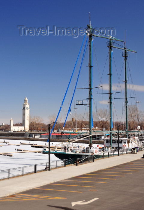 canada612: Montreal, Quebec, Canada: tallship Sedna IV at the Yacht Club de Montreal - YCMI - marina and Sailors' Memorial Tower - Quai de l'Horloge /  Clock Tower Quay - Vieux-Port - photo by M.Torres - (c) Travel-Images.com - Stock Photography agency - Image Bank