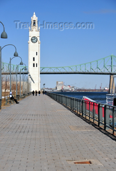 canada619: Montreal, Quebec, Canada: promenade and Clock tower, built in 1922 to honour the mariners who perished at sea during the First World War - waterfront of the St. Lawrence River and Jacques Cartier bridge - Vieux-Port - photo by M.Torres - (c) Travel-Images.com - Stock Photography agency - Image Bank
