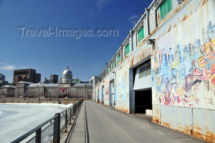 canada621: Montreal, Quebec, Canada: Hangar numéro 16 - graffiti and Bonsecours Market - Quai de l'Horloge - Vieux-Port - photo by M.Torres - (c) Travel-Images.com - Stock Photography agency - Image Bank