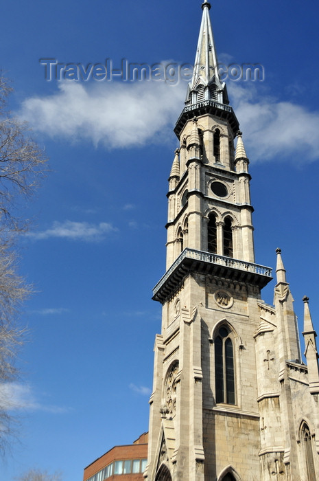 canada624: Montreal, Quebec, Canada: the city's tallest bell tower - Saint-Jacques church - architects John Ostell and Victor Bourgeau - Rue Saint-Denis - photo by M.Torres - (c) Travel-Images.com - Stock Photography agency - Image Bank
