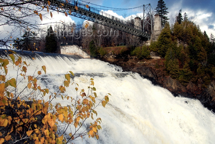 canada641: outside Quebec City, Quebec: Montmorancy Falls and suspension bridge - the Montmorency Riverd drops into the Saint Lawrence River - photo by B.Cain - (c) Travel-Images.com - Stock Photography agency - Image Bank