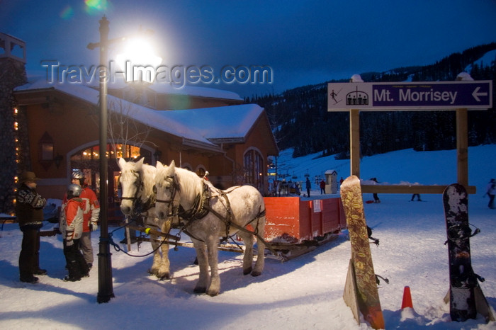 canada659: Kamloops, BC, Canada: horse drawn sledge and Mt. Morrisey sign - Sun Peaks ski resort - photo by D.Smith - (c) Travel-Images.com - Stock Photography agency - Image Bank