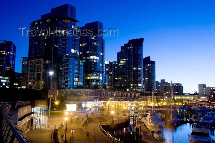 canada660: Vancouver, BC, Canada: Coal Harbour condominium and waterfront development in Coal Harbour - nocturnal - photo by D.Smith - (c) Travel-Images.com - Stock Photography agency - Image Bank