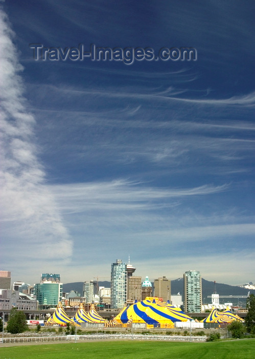 canada670: Vancouver, BC, Canada: Cirque du Soliel tents - Vancouver skyline and clouds - photo by D.Smith - (c) Travel-Images.com - Stock Photography agency - Image Bank