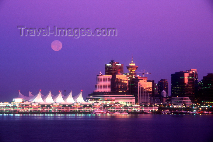 canada677: Vancouver, BC, Canada: Full moon over Vancouver - city skyline at sunset - Canada Place - photo by D.Smith - (c) Travel-Images.com - Stock Photography agency - Image Bank
