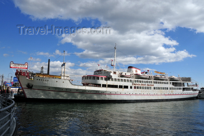 canada736: Toronto, Ontario, Canada: MS Jadran, an old Jugoslav ship, left the Adriatric to become Captain John's Seafood Restaurant - Queen's Quay - Toronto's historic waterfront - photo by M.Torres - (c) Travel-Images.com - Stock Photography agency - Image Bank