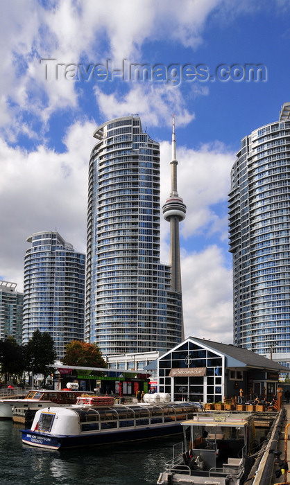 canada745: Toronto, Ontario, Canada: view from York Quay - The Waterclub condominium, CN Tower, Second Cup café and Miss Kim Simpson tour boat - photo by M.Torres - (c) Travel-Images.com - Stock Photography agency - Image Bank