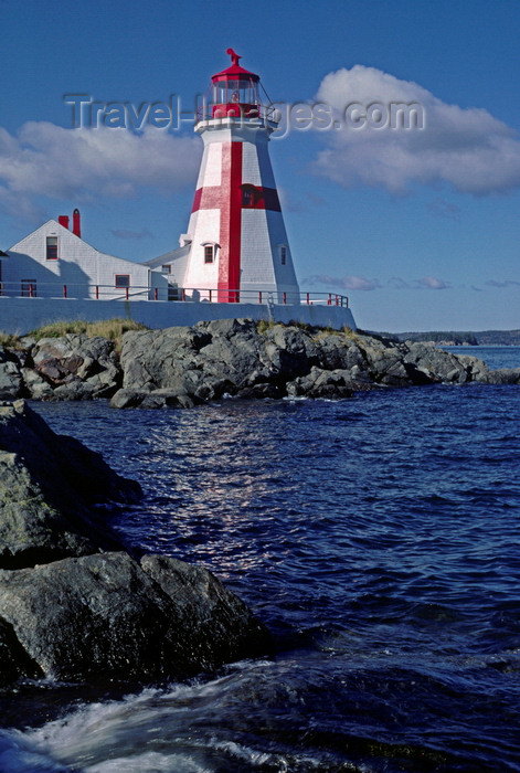 canada749: Campobello Island, New Brunswick, Canada: East Quoddy Head Lighthouse, situated on a rocky outcropping, is distinctive with its crisp white and red exterior - photo by C.Lovell - (c) Travel-Images.com - Stock Photography agency - Image Bank