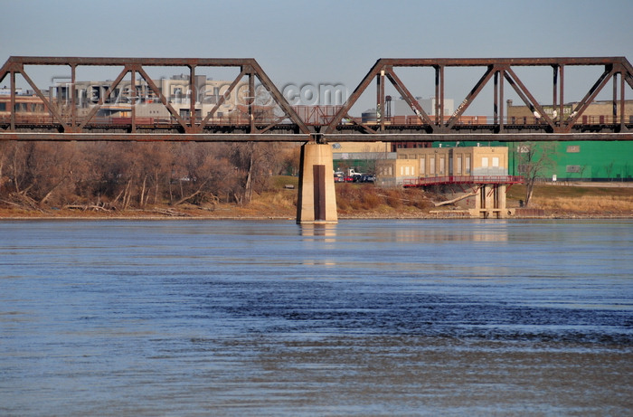 canada761: Winnipeg, Manitoba, Canada: CPR Redditt Bridge - CN railway bridge - steel trusses over the Red river - photo by M.Torres - (c) Travel-Images.com - Stock Photography agency - Image Bank