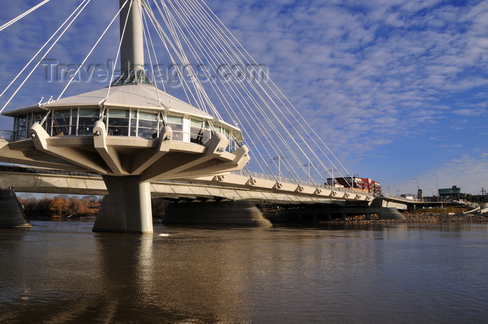 canada763: Winnipeg, Manitoba, Canada: Esplanade Riel bridge - side-spar cable-stayed bridge - Provencher Bridge in the background - the Forks - Red River, near the confluence with the Assiniboine River - photo by M.Torres - (c) Travel-Images.com - Stock Photography agency - Image Bank