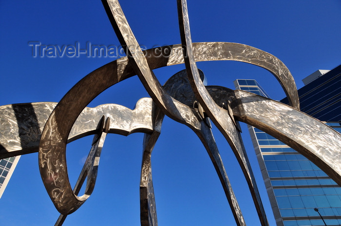 canada786: Winnipeg, Manitoba, Canada: 'Justice' - stainless steel sculpture by Gordon Reeve - Remand Centre prison in the background - Kennedy Street corner York avenue - photo by M.Torres - (c) Travel-Images.com - Stock Photography agency - Image Bank