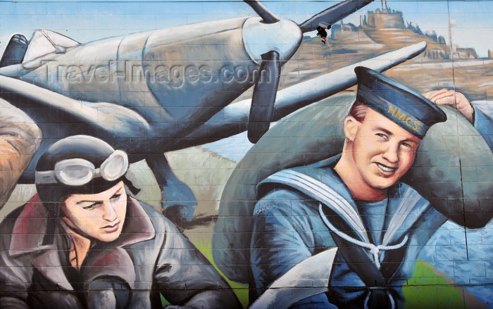 canada796: Winnipeg, Manitoba, Canada: mural - Supermarine Spitfire fighter, pilot and sailor - WWII scene - Smith Street - photo by M.Torres - (c) Travel-Images.com - Stock Photography agency - Image Bank
