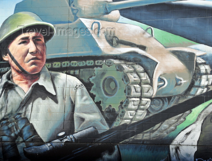 canada797: Winnipeg, Manitoba, Canada: mural - World War II Canadian soldier and M4 Sherman tank - Smith Street - photo by M.Torres - (c) Travel-Images.com - Stock Photography agency - Image Bank