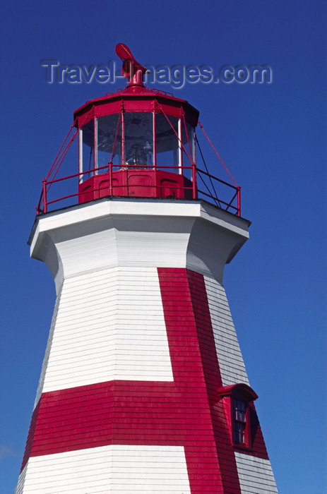 canada812: Campobello Island, New Brunswick, Canada: the wooden tower of East Quoddy Head Lighthouse is marked with a large red cross - Passamaquoddy Bay - photo by C.Lovell - (c) Travel-Images.com - Stock Photography agency - Image Bank