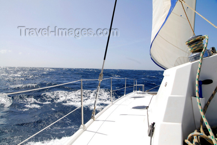 capeverde60: Fogo island - Cape Verde / Cabo Verde: catamaran sailing in Cape Verde waters - photo by E.Petitalot - (c) Travel-Images.com - Stock Photography agency - Image Bank