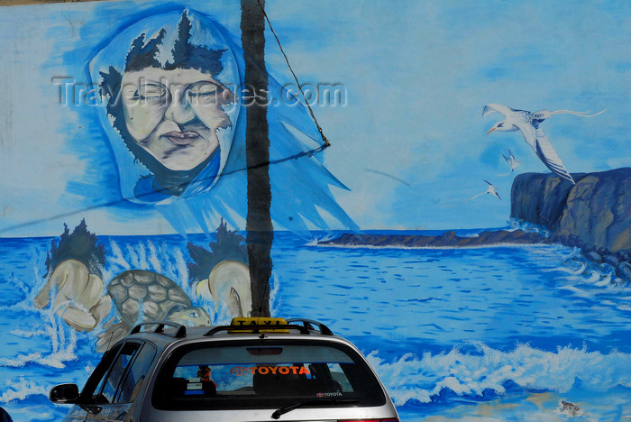 capeverde67: São Filipe, Fogo island - Cape Verde / Cabo Verde: the ocean - mural painting on a wall - photo by E.Petitalot - (c) Travel-Images.com - Stock Photography agency - Image Bank