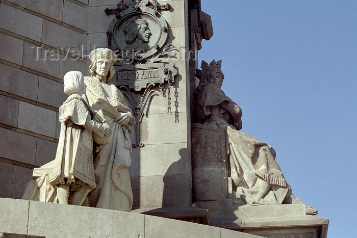 catalon112: Catalonia - Barcelona: Christopher Columbus monument - detail - Monumento a Cristóbal Colón - Vicente Yáñez Pinzón, captain of the Niña - photo by M.Bergsma - (c) Travel-Images.com - Stock Photography agency - Image Bank