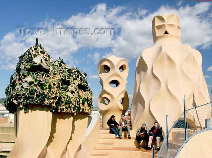 catalon117: Catalonia - Barcelona: organic sculptures - decorations on the roof of Casa Milá - La Pedrera - photo by A.Dnieprowsky - (c) Travel-Images.com - Stock Photography agency - Image Bank
