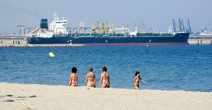 catalon132: La Pineda, Vila-seca, Costa Dorada, Tarragona, Catalonia: women on the beach and the tanker Iblea, Oil and Chemical Carrier built at Namura Shipbuilding in Imari, Japan - photo by B.Henry - (c) Travel-Images.com - Stock Photography agency - Image Bank