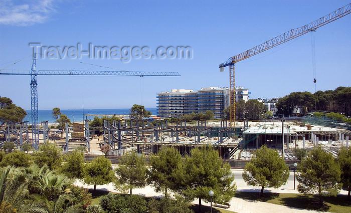 catalon138: La Pineda, Vila-seca, Costa Dorada, Tarragona, Catalonia: construction of new hotel resort - cranes - photo by B.Henry - (c) Travel-Images.com - Stock Photography agency - Image Bank