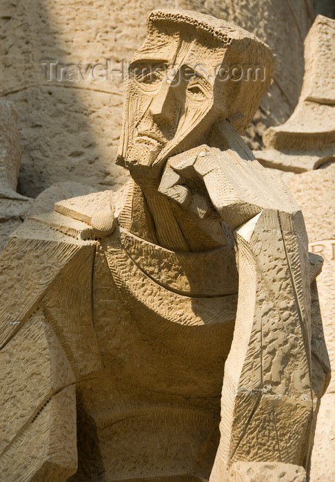 catalon146: Barcelona, Catalonia: sad face - sculptor Josep Maria Subirachs - Temple Expiatori de la Sagrada Familia - Passion façade - photo by B.Henry - (c) Travel-Images.com - Stock Photography agency - Image Bank