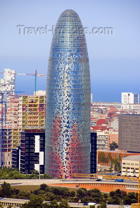 catalon147: Barcelona, Catalonia: Agbar Tower - Torre Agbar - Jean Nouvel's mark on Barcelona's skyline - 'el supositori' - Poblenou, Sant Martí district - photo by B.Henry - (c) Travel-Images.com - Stock Photography agency - Image Bank
