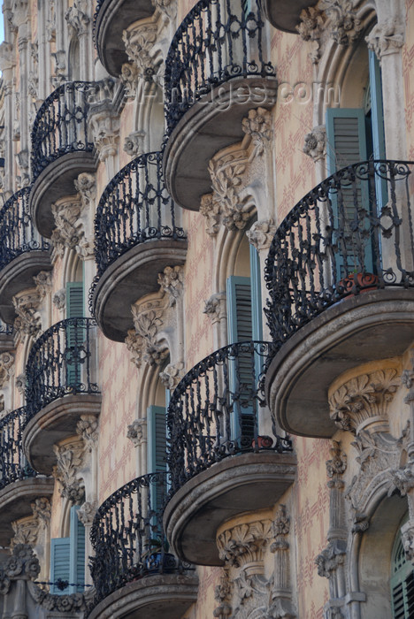 catalon151: Barcelona, Catalonia: building facade - balconies - photo by T.Marshall - (c) Travel-Images.com - Stock Photography agency - Image Bank