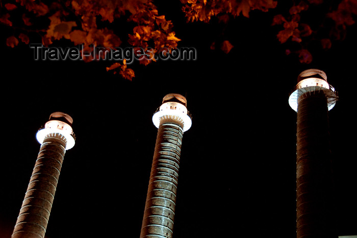 catalon154: Barcelona, Catalonia: three chimneys at night - photo by T.Marshall - (c) Travel-Images.com - Stock Photography agency - Image Bank