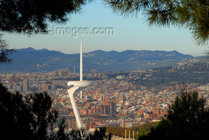 catalon160: Barcelona, Catalonia: Olympic Tower and the city - located in Montjuïc at the Olympic park, it represents an athlete holding the Olympic Flame - photo by T.Marshall - (c) Travel-Images.com - Stock Photography agency - Image Bank
