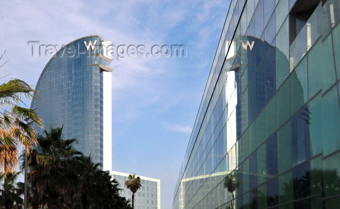 catalon165: Barcelona, Catalonia: W Barcelona hotel and its reflection on a curtain wall, architect Ricardo Bofill - photo by M.Torres - (c) Travel-Images.com - Stock Photography agency - Image Bank
