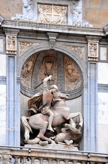 catalon167: Barcelona, Catalonia: St James and the dragon -  Palau de la  Generalitat de Catalunya, main facade on Plaça de Sant Jaume - Gothic Quarter - photo by M.Torres - (c) Travel-Images.com - Stock Photography agency - Image Bank
