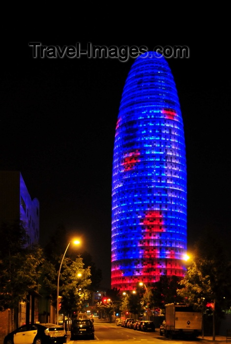 catalon168: Barcelona, Catalonia: Agbar tower at night, architect Jean Nouvel, Poblenou - high-tech architecture - photo by M.Torres - (c) Travel-Images.com - Stock Photography agency - Image Bank