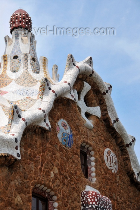 catalon172: Barcelona, Catalonia: gable of the ward's house - Park Güell by Antoni Gaudí, La Salut, Gràcia district - UNESCO World Heritage Site - photo by M.Torres - (c) Travel-Images.com - Stock Photography agency - Image Bank