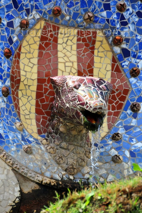 catalon173: Barcelona, Catalonia: Font de la Serp - fountain of the serpent with the Catalan bars - Park Güell by Antoni Gaudí - UNESCO World Heritage Site - photo by M.Torres - (c) Travel-Images.com - Stock Photography agency - Image Bank