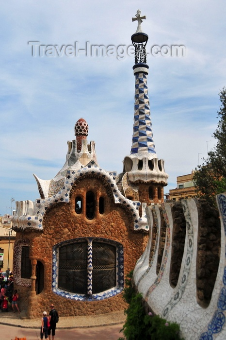 catalon185: Barcelona, Catalonia: merlons and gate house - Parc Güell by Antoni Gaudí, Carmel Hill, Gràcia district - UNESCO World Heritage Site - photo by M.Torres - (c) Travel-Images.com - Stock Photography agency - Image Bank
