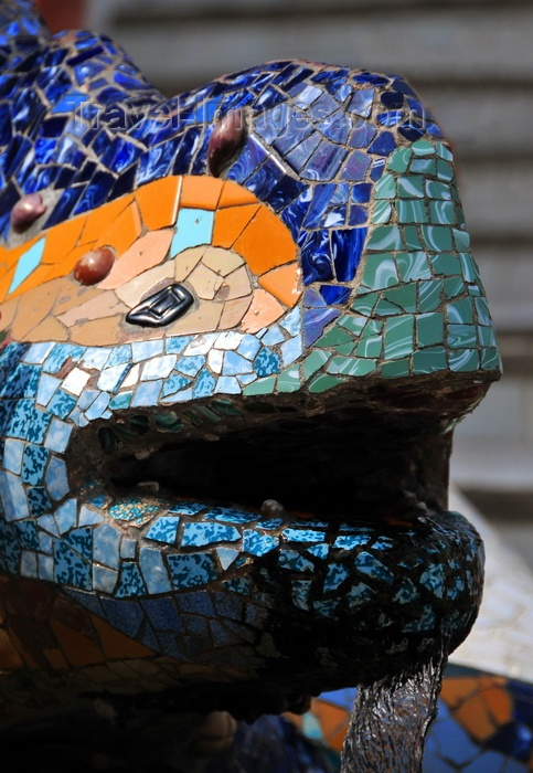 """catalon186: Barcelona, Catalonia: head of mosaic salamander fountain, known as """"el drac"""", Parc Güell by Antoni Gaudí, Carmel Hill - UNESCO World Heritage Site - photo by M.Torres - (c) Travel-Images.com - Stock Photography agency - Image Bank"""