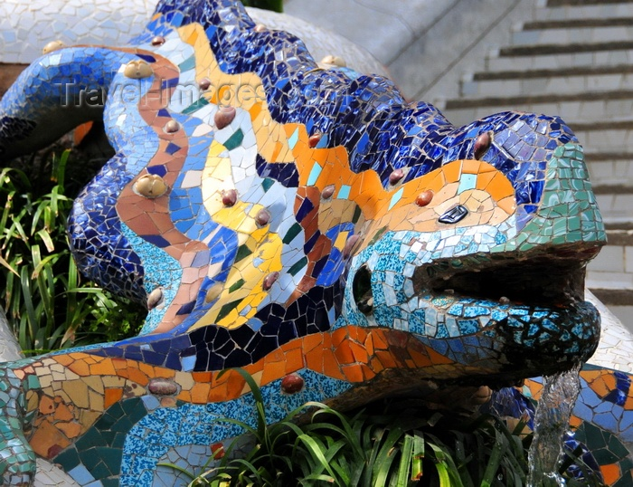 """catalon187: Barcelona, Catalonia: salamander fountain, known as """"el drac"""" by Antoni Gaudí, Park Güell main stairway - UNESCO World Heritage Site - photo by M.Torres - (c) Travel-Images.com - Stock Photography agency - Image Bank"""