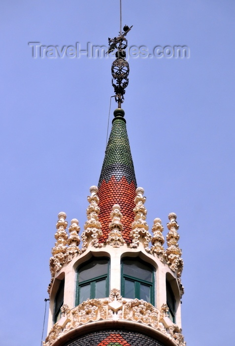 catalon202: Barcelona, Catalonia: tower with spike at Casa Terrades aka Casa de les Punxes, after these spikes - Catalan Modernism, 1905 - Eixample area - photo by M.Torres - (c) Travel-Images.com - Stock Photography agency - Image Bank