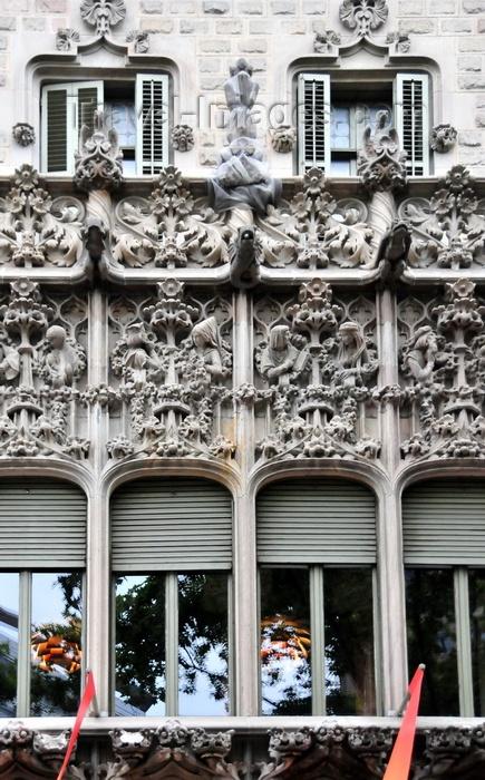 catalon206: Barcelona, Catalonia: ornate Gothic balcony at Palau Baró de Quadras - photo by M.Torres - (c) Travel-Images.com - Stock Photography agency - Image Bank